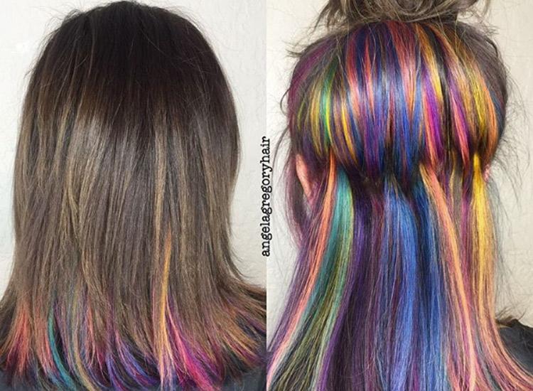 Rainbow Underlights Hair Regenbogen