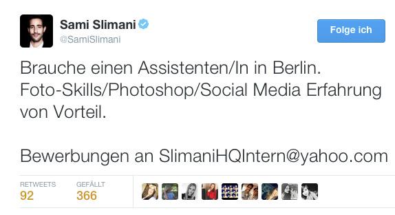 Sami Slimani Bewerbung