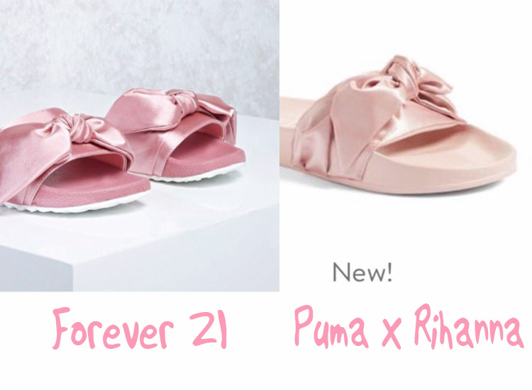 Die Pink Bow Slides von Forever 21 und Puma x Rihanna ähnelt sich