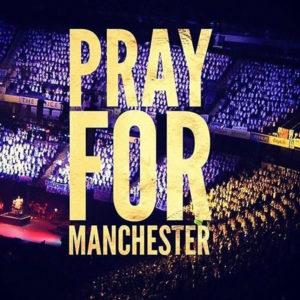 Pray For Manchester - Das Bild Zeigt die Manchester Arena, den Ort der Anschläge