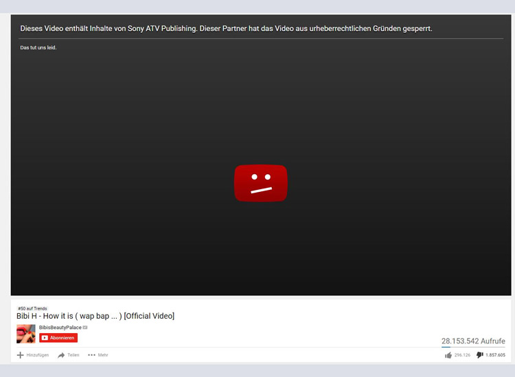 Bibis Beauty Palace Musikvideo zum Song How It is wurde gesperrt