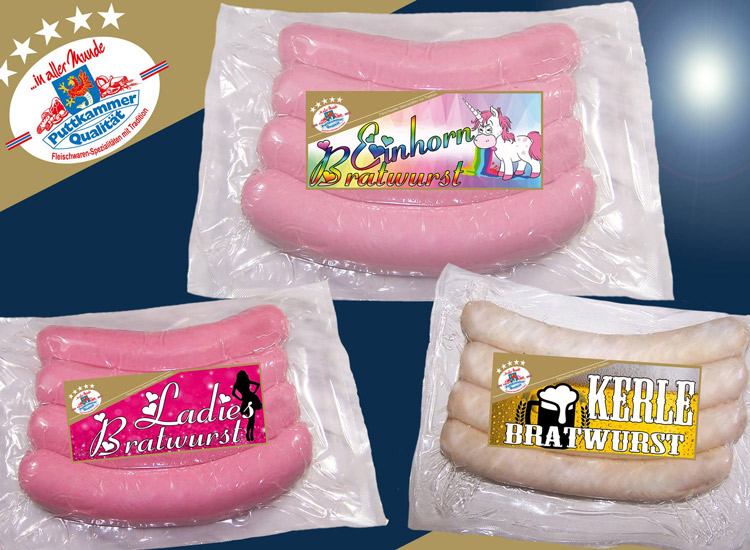 Ladys Bratwurst, Kerle Bratwurst und Einhorn Bratwurst